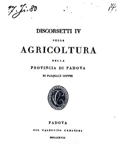 Discorsetti IV sull'agricoltura nella provincia di Padova